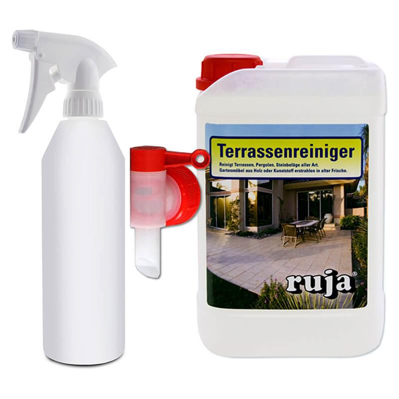 Terrassenreiniger-Set   1 Sprühflasche 500 ml (leer)+ Auslaufhahn für Kanister+3 l Terrassenreiniger